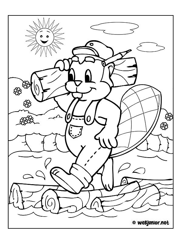 Castor bûcheron : coloriage Animaux gratuit sur Webjunior