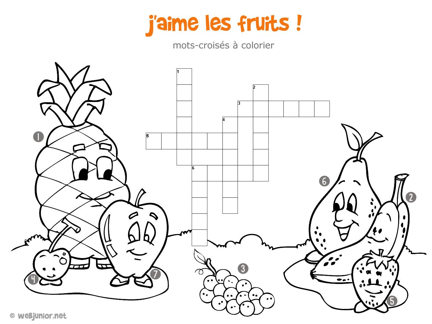 J'aime les fruits : mots-croisés enfant, à imprimer et