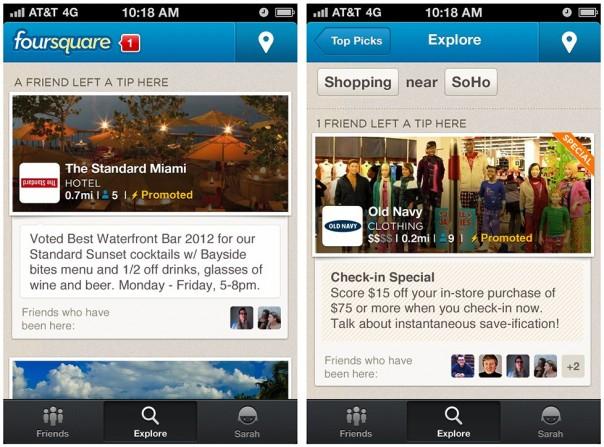 Foursquare : Promoted updates