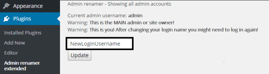 Admin Username Extended Setting Page