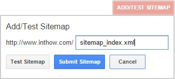 Add/Test Sitemap URL Box