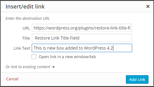 Plugin After Installing the Restore Link Title Field