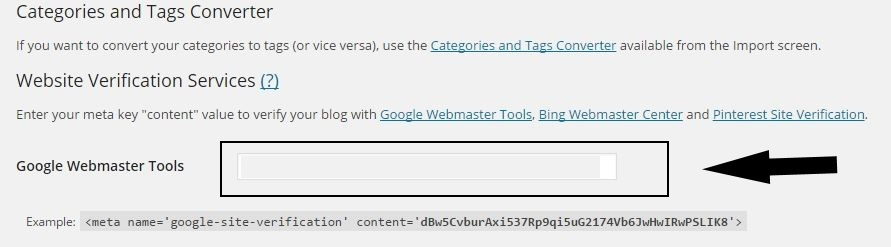 Paste Verification Code in Google Webmaster Tool