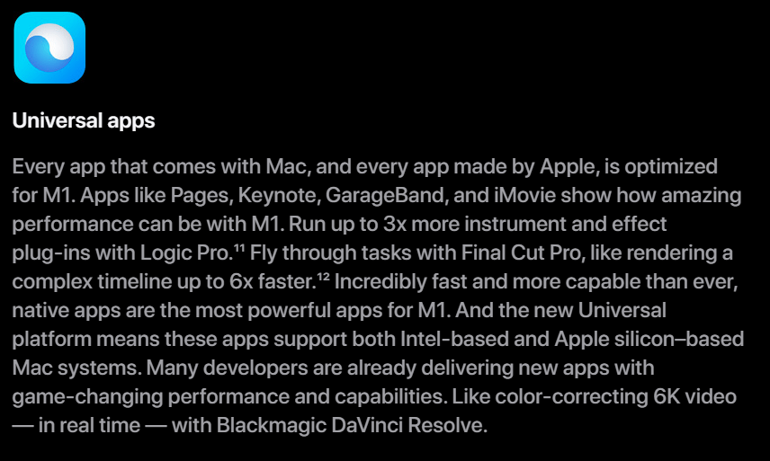 Apple Universal Apps marketing spank for the M1 CPU