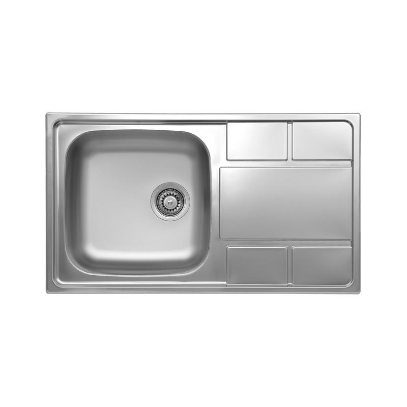 Lavello cucina vasca gocciolatoio a destra in acciaio da incasso 50