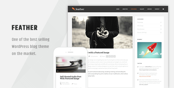 Feather – Clean Flat Responsive WordPress Blog Theme