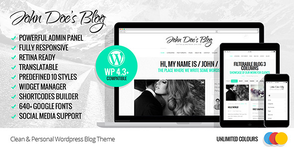 John Doe's Blog Clean WordPress Blog Theme