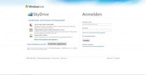 Windows SkyDrive Anmeldung