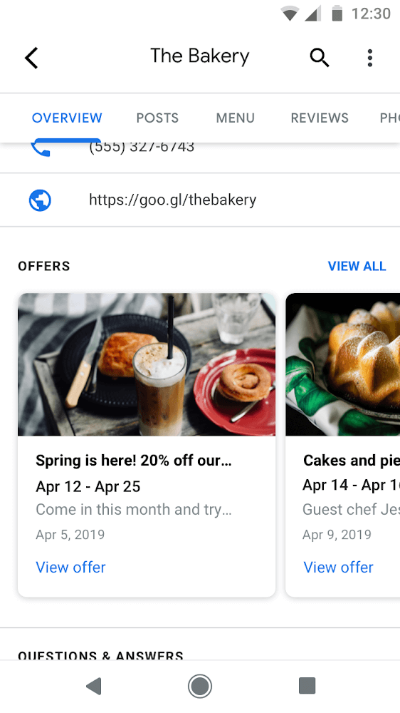 google my business offers