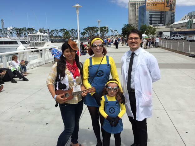 Professor Monty Corndog, Woody, and Minions at SDCC 2015
