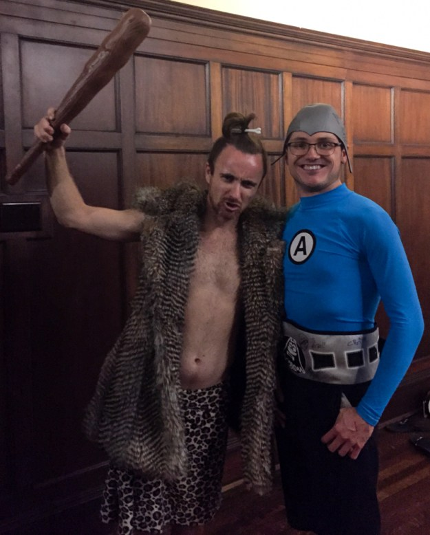 Hatha for Hunger 2015, Sean as caveman and me as Aquabat