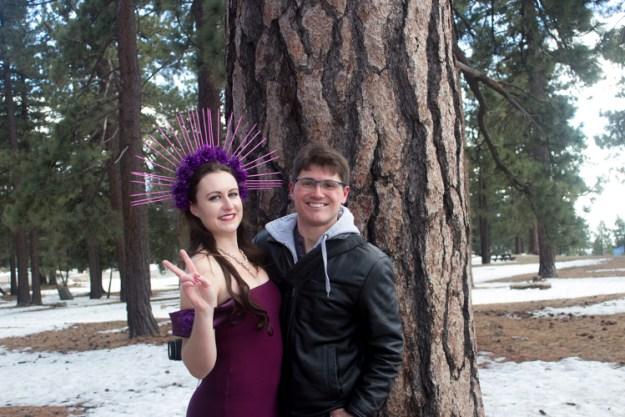Purple dress snow photoshoot
