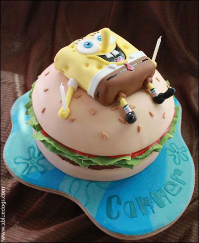Groovy Spongebob Squarepants Krabby Patty Cake Moxie Blue Creative Birthday Cards Printable Inklcafe Filternl