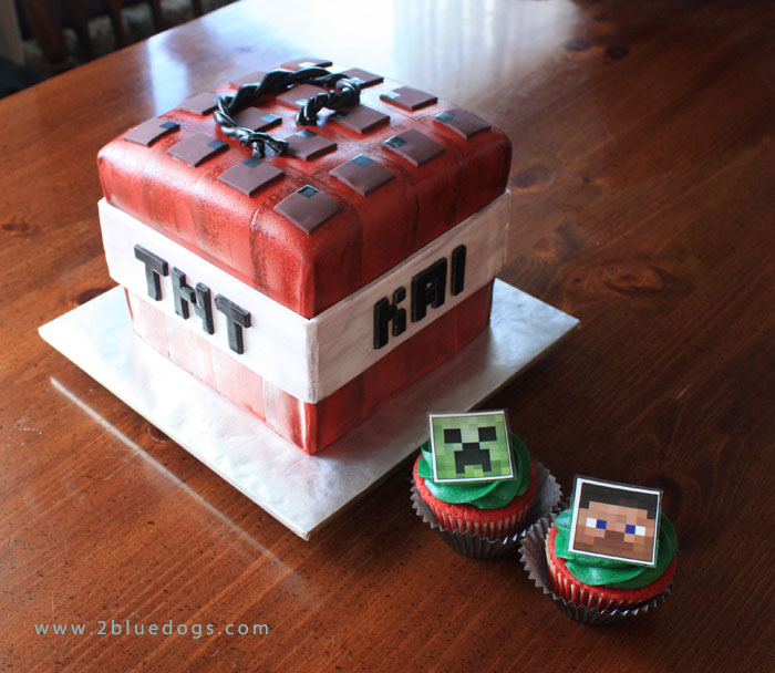 Prime Minecraft Tnt Birthday Cake Cupcakes With Toppers Moxie Blue Birthday Cards Printable Giouspongecafe Filternl