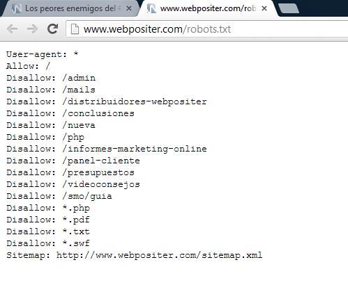 Ejemplo de fichero robots.txt