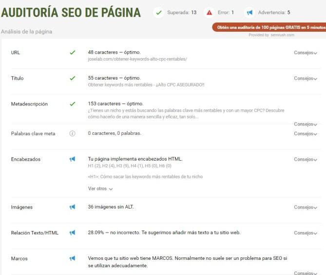 Seo Quake Herramientas SEO de Google Chrome