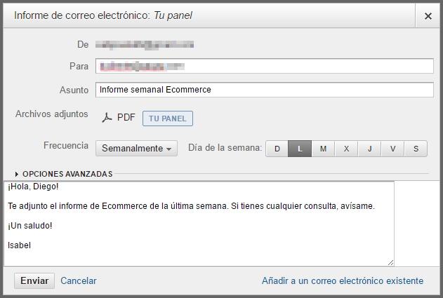 Ejemplo de email con datos panel Analytics
