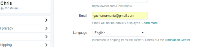 twitter email address