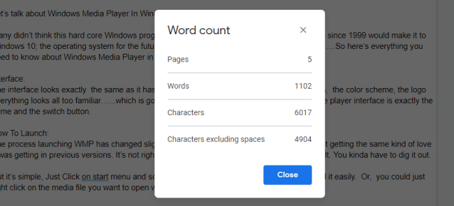 word count on Google docs
