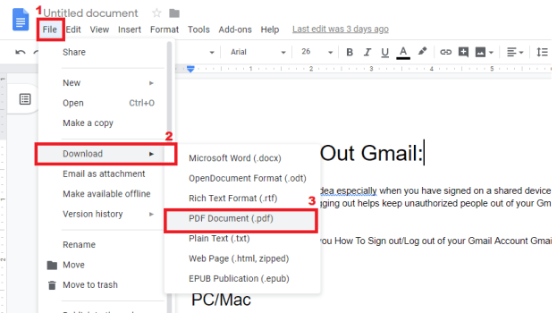 how to convert google docs to pdf