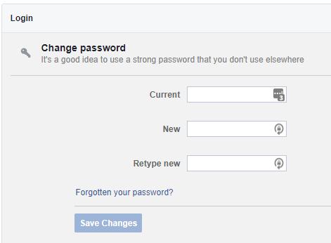 facebook change the password
