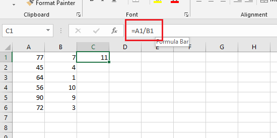 formula for division in excel cells