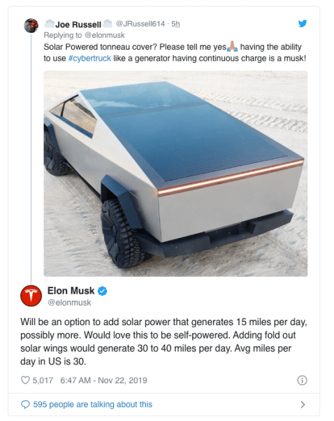 tesla cyber truck solar option