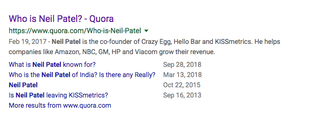 Who is Neil Patel? - Quora Result on Google Search