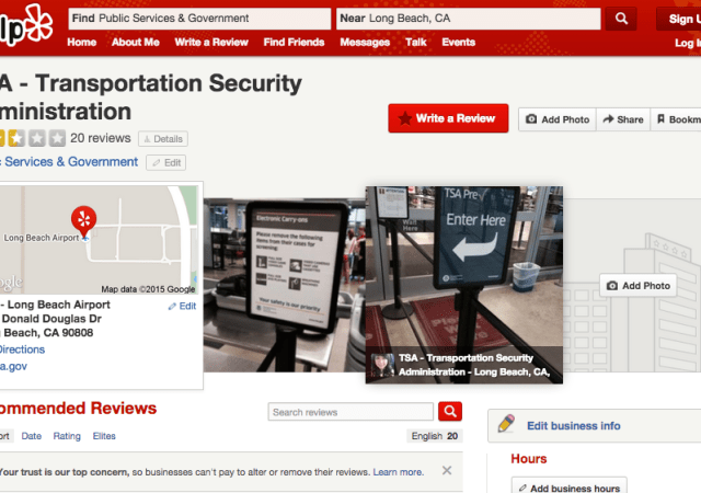 TSA Doesn't Really Care About Your Yelp Reviews