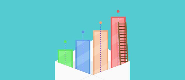 vertical bar chart emerging from an open envelope