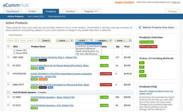 eCommHub Products Screenshot