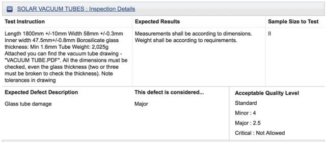 Pre-Shipment Inspection 3 Inspection Details