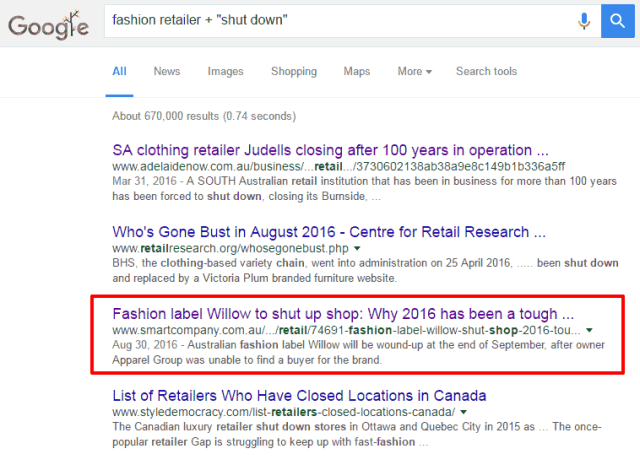 Fashion retailer shut down search