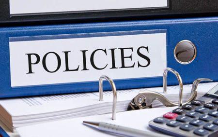 Policies manual on desk
