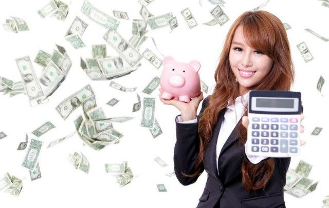 Chinese woman with calculator raining money