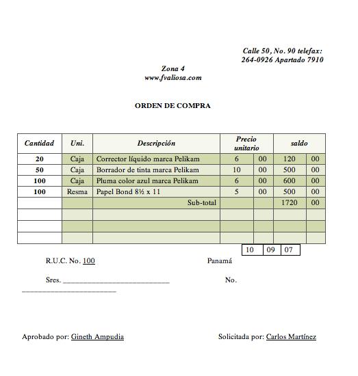 formato orden de pedido excel