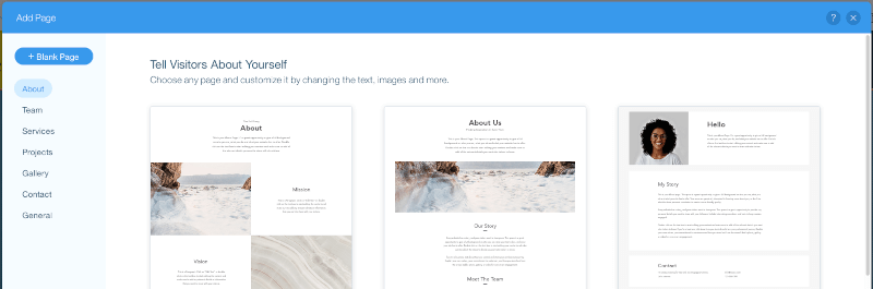 Wix Editor Add Page Type
