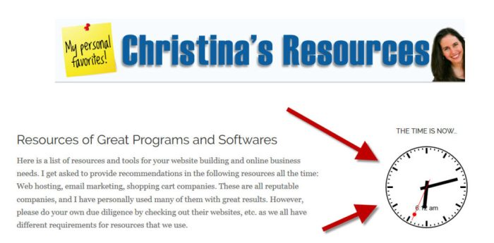 clock plugin on christinas resources website
