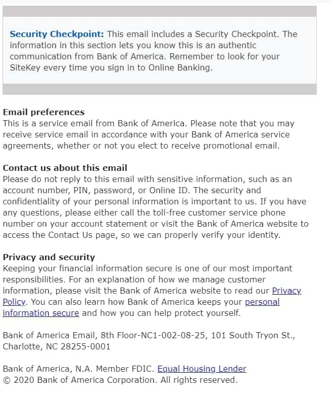 email body bank of America