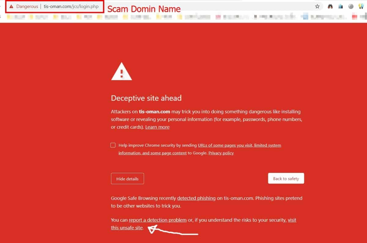 scam domain name