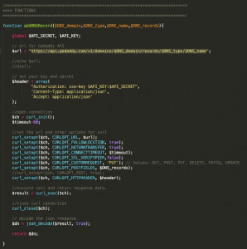 addDNSRecord - GoDaddy API Function
