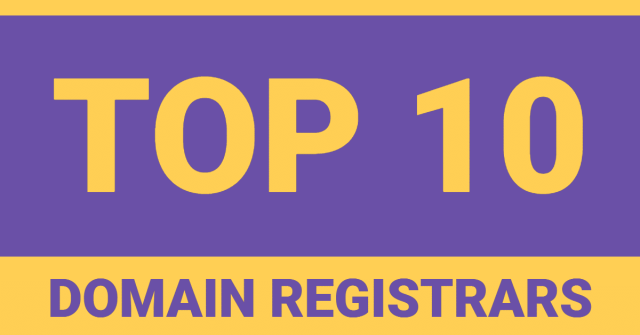 "The words ""top 10 domain registrars"" in purple and yellow text"