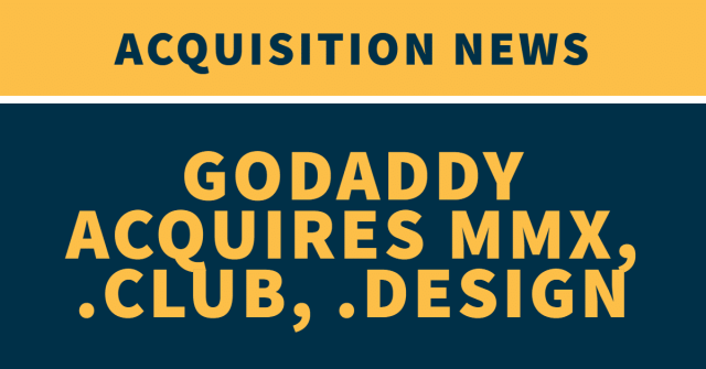 """The words """"Acquisition News: GoDaddy acquires MMX, .Club, .Design"""" on a yellow and blue background"""