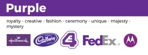 examples of purple logos E4 cadbury FedEx