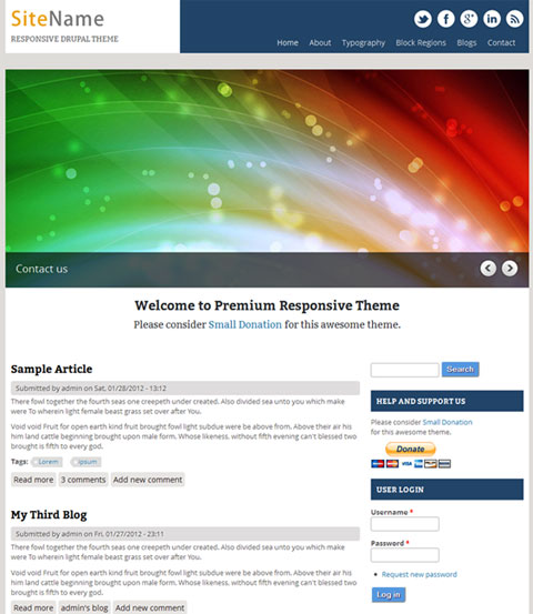 Free Responsive Drupal Themes. Screen Size does not Matter!   Website Templates Blog