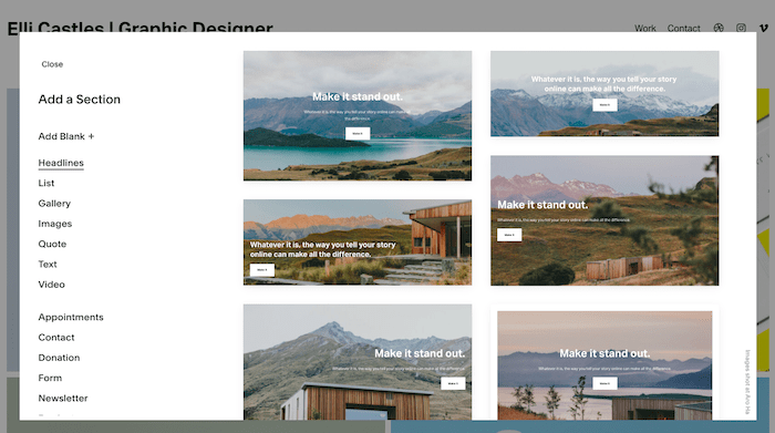 squarespace sections