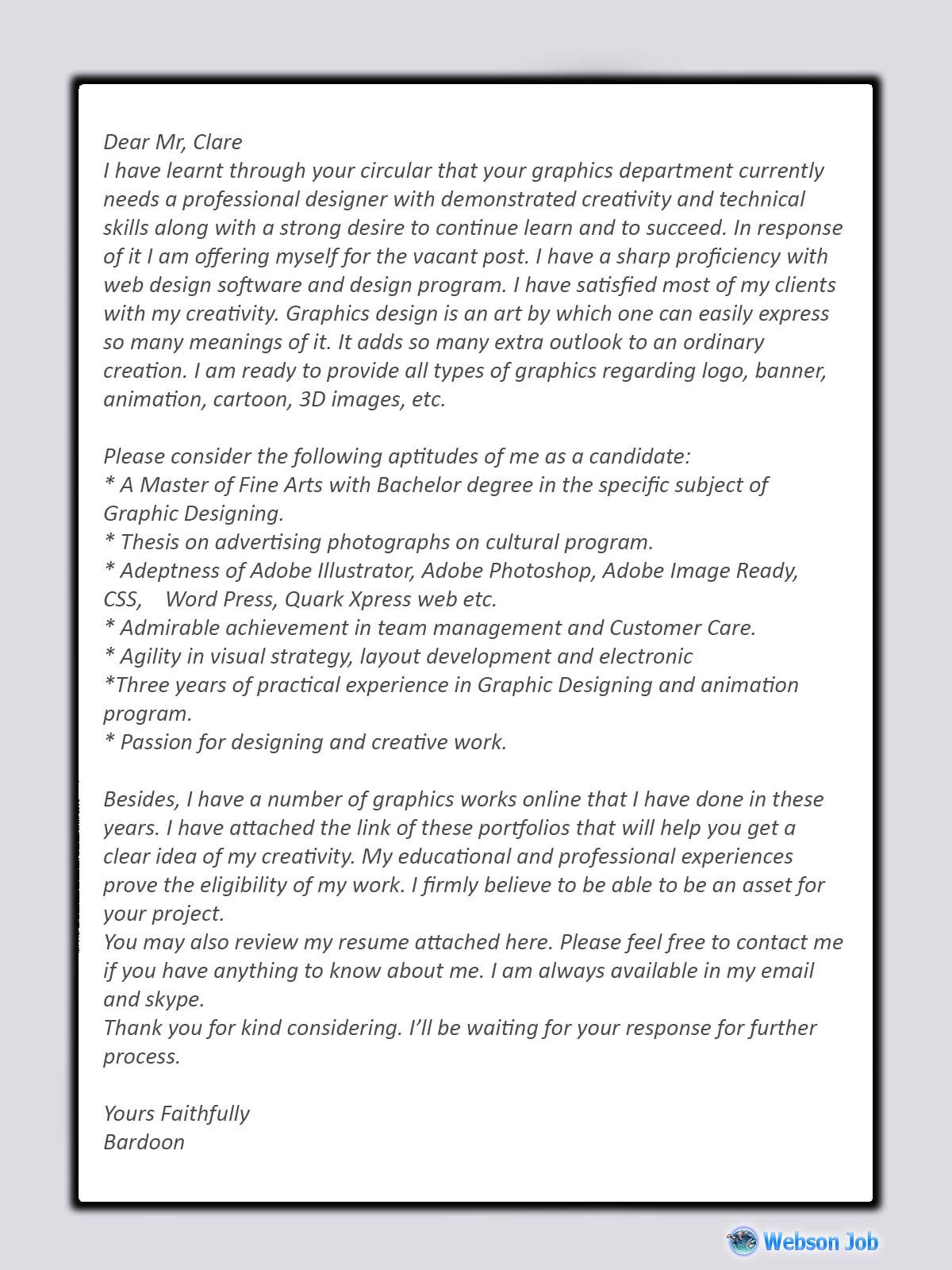 Graphics Designer Cover Letter Sample and Format for Upwork  Webson Job