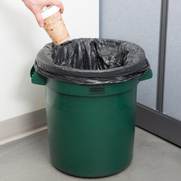 Rubbermaid Brute Fg261000dgrn Green 10 Gallon Trash