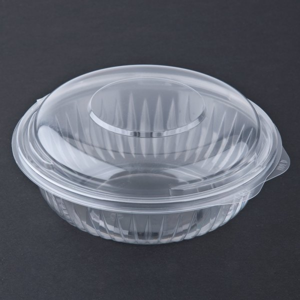 Dart Solo C24hbd Presentabowls 24 Oz. Clear Hinged Plastic Bowl With Dome Lid 75 Pack