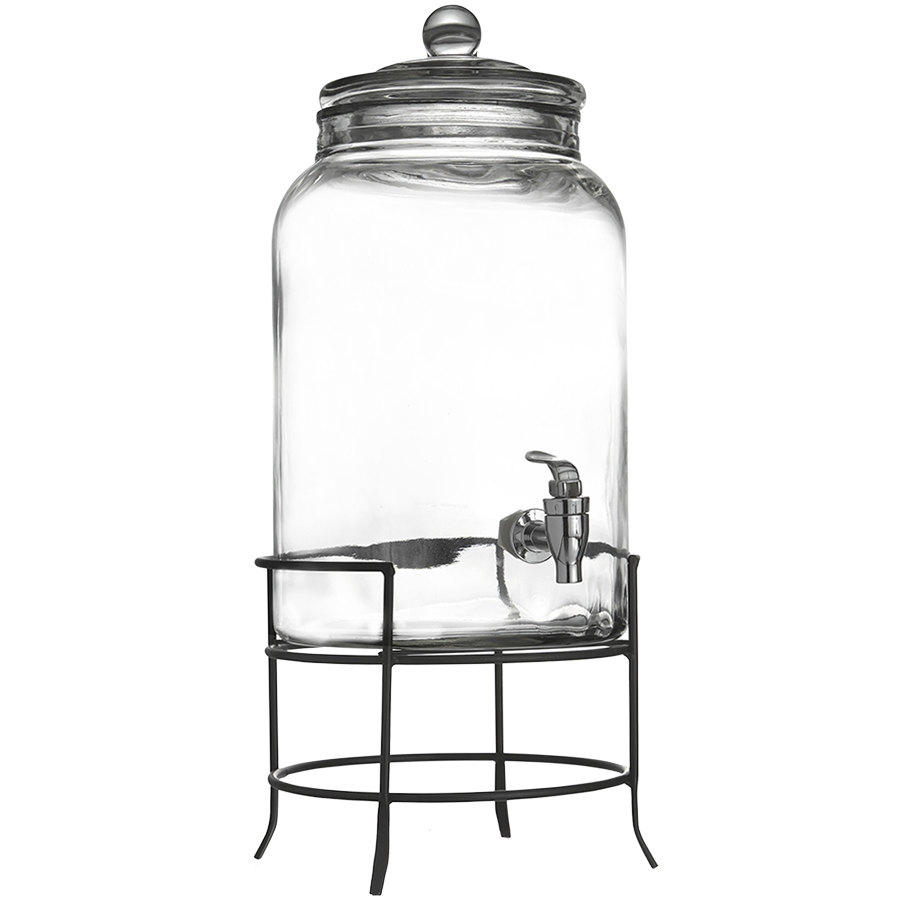 2.75 Gallon Montgomery Glass Beverage Dispenser with Metal